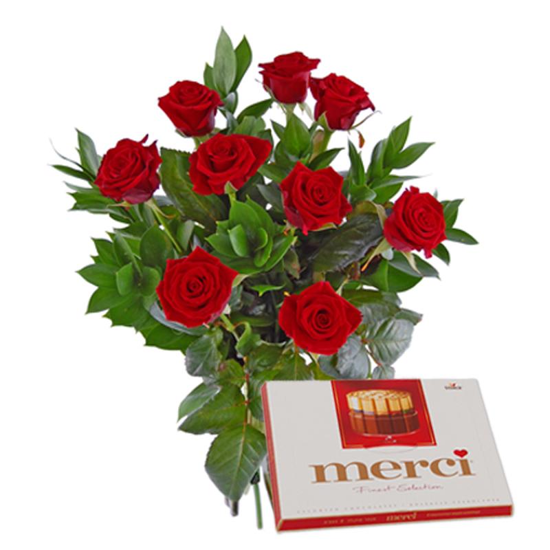 Róże z czekoladkami Kwiaty