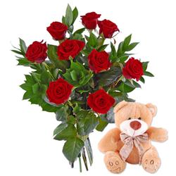 Róże z misiem