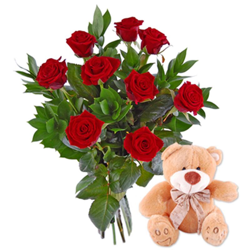 Róże z misiem Kwiaty