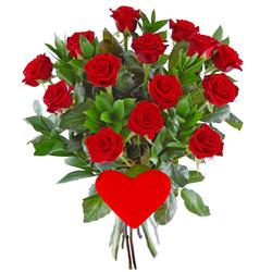 Bukiet róż z sercem