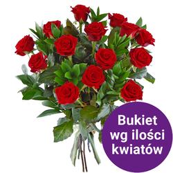 63 róż z przybraniem Kwiaty